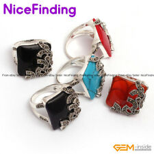 21mm Square Gemstone Healing Rings Lot Tibetan Silver Fashion Women Jewelry Gift