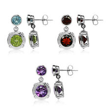 Round Genuine Gemstone Gold Plated 925 Sterling Silver Dangle Post Earrings