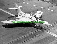 Grumman F9F-8 Cougar Fighter Plane Black n White Photo Navy Military USN 1956
