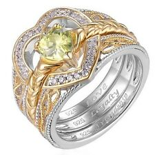NEW Silver Gold & Green Zirconia 3 Piece Stacking Irish Celtic Claddagh Ring