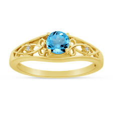 14k Yellow Gold Round Blue Topaz And Diamond Ring