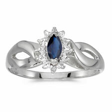 14k White Gold Marquise Sapphire And Diamond Ring