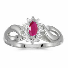 14k White Gold Marquise Ruby And Diamond Ring