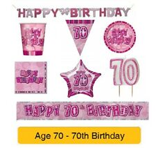 AGE 70 - Happy 70th Birthday PINK GLITZ - Party Banners, Balloons & Decorations