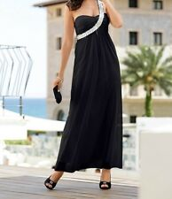 Ladies Maxi dress with One-Shoulder look and sequin sash, 92377 in black