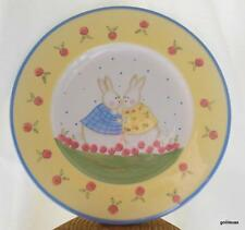 "Bunny Frolics Spring Blossoms Plate 8"" Art by Evans Midwest Rabbit"