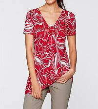 Ladies short-sleeved Shirt tunic, 189385 in red/White printed