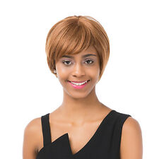 Women's Short Straight Oblique Bangs Human Hair Party Cosplay Full Wig Bluelans