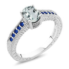 0.82 Ct Oval Sky Blue Aquamarine 925 Sterling Silver Ring