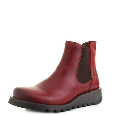 Womens Fly London Salv Rug Red Leather Flat Chelsea Ankle Boots UK Size