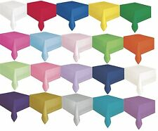 """Plastic Lined Tablecover (54""""x108"""")Paper-Poly Plain Solid Colours Party Birthday"""