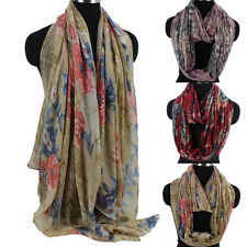Women Vintage Scarf Staining Graffiti Floral Painting Long Shawl/Infinity Scarf