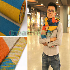 Men Classic Knit Wool Mixed Color Rainbow Long Strip Scarf Shawl Wrap Warm
