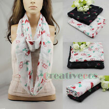 Fashion Cherry Print Viscose Infinity Loop Cowl Eternity Wrinkled Voile Scarf