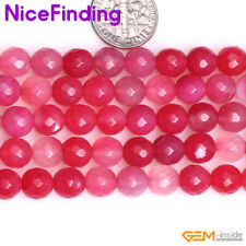 Natural Faceted Red Agate Onyx Round Gemstone Beads For Jewelry Making Strand15""