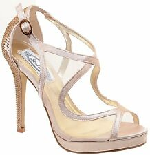 Sparkly Bling Mesh Peep Toe Stiletto Open-toe Platform Heel Pump Nude