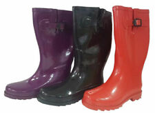 Ladies Raben Gumboots Long Boots Pull On Red Black Purple Wellies Size 5-11 Shoe