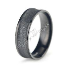 Stainless Steel Concave Matte Band 6mm Wide Wedding Ring Frosting Black SZ 6-10