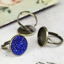 5pcs Vintage Ring Mountings Antique Brass Round Jewelry 21x18mm/20x20mm/20x17mm