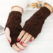 Womens Thermal Braided Knitted Gloves Crochet Mittens Long Fingerless Arm Warmer