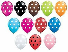 """Pack of 6 Qualatex 11"""" Polka Dot Latex Party Balloons (Helium or Air) Birthday"""