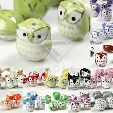 10pcs Wholesale Colorful Handmade Porcelain Owl Spacer Loose Beads 17x15mm