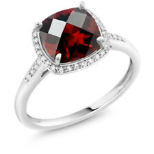 2.40 Ct Cushion Checkerboard Red Garnet 10K White Gold Ring with Accent Diamonds