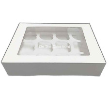White Cupcake Boxes holds 12 cup cakes clear window & insert twelve hole cavity