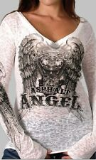Ladies Long Sleeve ASPHALT ANGEL Motorcycle Top Womens Biker Burnout Vee t-shirt