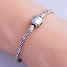 Love Silver Plated Snake chain european Charms Beads Bracelet Wholesale Lot New