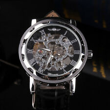 Leather Gold/Black Dial Skeleton Mechanical Luxury Mens Wrist Watches Lucky