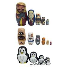 Wooden Russian Nesting Dolls Matryoshka Kids Toys Hand Painted 5/6/10 Dolls Set