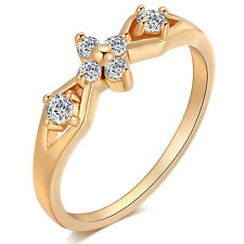 Wedding Cherry Ring Line Hollow Yellow Gold Plated crystal Rings Free Shipping