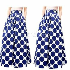 Women's Polka Dot Casual Party Vintage High Waist Pleated Skirt Long Maxi Dress