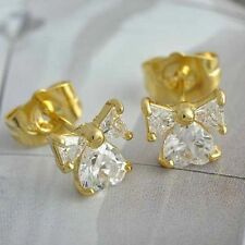 Safety 18k Gold Filled Kids Little Girls Childrens Red Crystal Stud Earrings