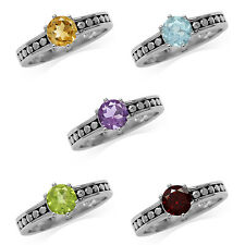 Genuine Gemstone 925 Sterling Silver Bali/Balinese Style Solitaire Ring