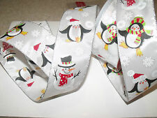 Wintry Snowman & Penguins Snowflake Christmas - Luxury Wire Edged Ribbon LOW !!!