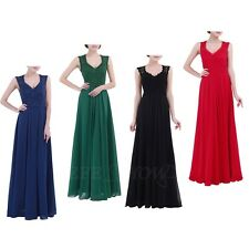 New Women Sexy V Neck Lace Long Dress Wedding Bridesmaid Evening Party Size 4-16