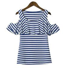 Women Stripe T-Shirt Off Shoulder O-Neck Short Sleeve Casual Tee Blouse Top H3Z9