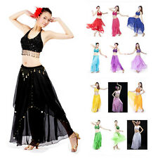 Belly Dance Costume Top and Skirt Colors Set Carnival Gold Coins Dress Outfit