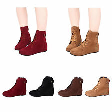 New Fashion Women Girls Lace Up Winter Boots Flat Ankle Casual Shoes Booties