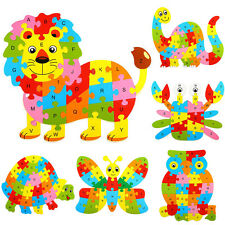 WOOD ANIMAL ALPHABET LETTTER PUZZLE KIDS EDUCATIONAL DEVELOPMENTAL TOY DAINTY
