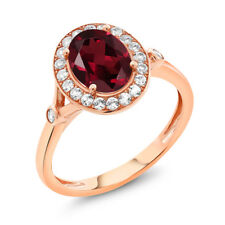 2.36 Ct Oval Red Rhodolite Garnet White Created Sapphire 10K Rose Gold Ring