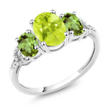 Diamond Accent 10k White Gold 2.15 Ct Oval Lemon Quartz and Green Peridot Ring
