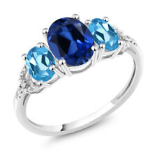 10K White Gold 2.65 Ct Blue Simulated Sapphire Swiss Blue Topaz 3-Stone Ring