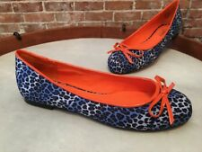 Twiggy London Blue Leopard & Orange Bow Ballet Flats NEW