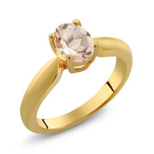 0.65 Ct Oval Peach Morganite 18K Yellow Gold Plated Silver Ring
