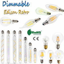 Dimmable LED Edison Retro Vintage E12 E27 E14 2W - 8W Bulb Light Filament Lamps
