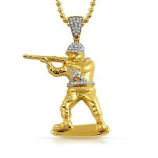 Gold Soldier Army CZ Pendant With Chain