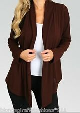 Brown Long Sleeve Shrug/Cover-Up Drape Scarf Tunic Cardigan